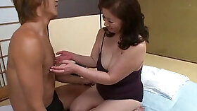 Asian bukkake action with mature lady